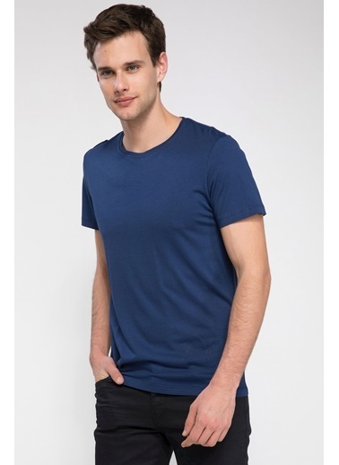 DeFacto Slim Fit Basic T-shirt Mavi